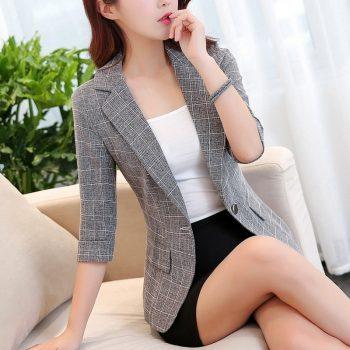 New Autumn One Button Plaid Blazer Women Three Quarter Sleeve Work Jacket Ladies Notched Collar Short Outerwear