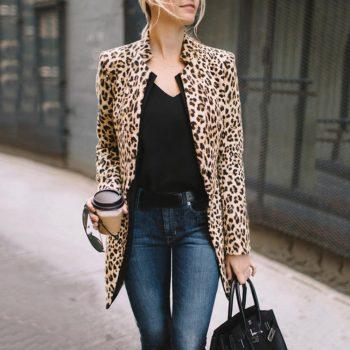 2019 New Fashion Women Leopard Print Blazer Women Ladies Jackets Suit Slim Yards Ladies Blazers Work Wear Blazers#D6