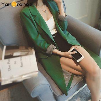 Single One Button Women Long Blazer Jacket Spring Autumn 2019 Slim Outwear Elegant Overcoat 2 Pockets OL Suits Coat Female
