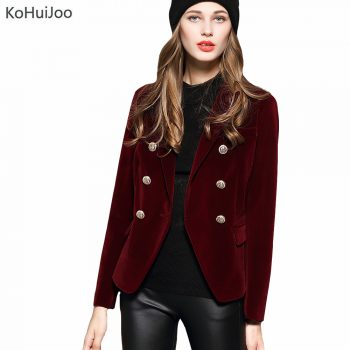 KoHuiJoo 2019 Spring Autumn Women's Blazers Long Sleeve Golden Button Slim Lady Velvet Jackets and Coats Black Wine Red M-2XL