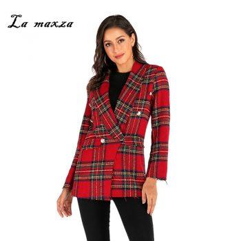 Plus Size 2019 Women Blazers and Jackets Plaid Slim Fit Blazer Casual Women Clothes Blazer