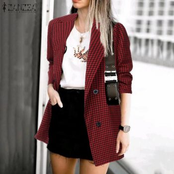ZANZEA 2019 Fashion Women Plaid Check Blazer Casual Pockets Blazer Feminino Office Lady Blazers Lapel Buttons Chaqueta Mujer 7