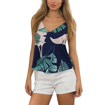 FEITONG Leaves Printed Camis Women Blouse Fashion Sleeveless Women Gallus Blouse Casual V-Neck Tops Shirt Navy Blusas *35