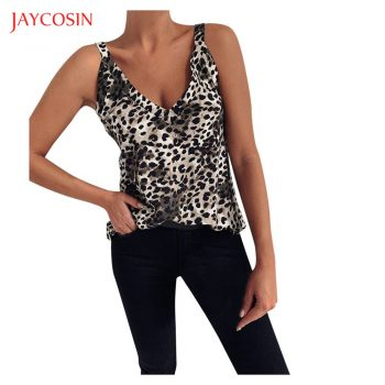 Jaycosin 2020 New Sexy Women Tank Tops Summer Casual Leopard Vest Tops Sleeveless Strap V-neck Clubwear Backless Camis Tops