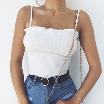 New Fashion 2018 sexy tops for women Summer Casual Sleeveless Ruffles Off Shoulder crop Halter Solid Tank Tops in White