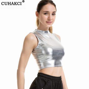 CUHAKCI Punk Crop Sexy Slim Crop Tank Top Leather Sleeveless Vest High Street Tanks Tank Top XXL Short Tops Women Gold Fashion