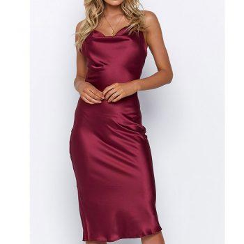 Fashion Women Dress Solid Spaghetti Straps Backless Sleeveless Sexy Long Dresses Ladies Elegant Casual Satin Silk Sheath Dress