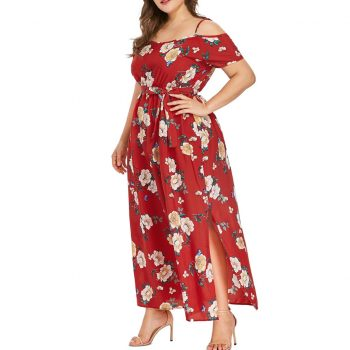 Women's Plus Size Bohemian Maxi Dres Strapless Strap High Elastic Waist Bandage Bow Floral Print Long Dress Beach Party Vestidos