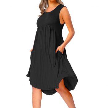 Plus Size Dress For Women 2019 Summer Casual O Neck Draped Sleeveless Solid Black White Midi Dresses Pockets Beach Vestidos #V