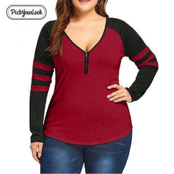 Pickyourlook Plus Size Women Tops And Tee Shirt Long Sleeve V Neck Button Female T-Shirt Autumn Striped Large Size Women Tshirt