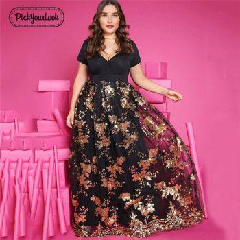 Women Dress Plus Size Summer Elegant Large Lady Dress Short Sleeve Gloden Floral Wedding Party Female Vestidos 5XL D40