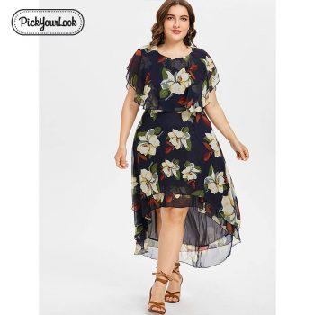 Pickyourlook Women Midi Dress Plus Size Summer Bohemian Vestido De Festa Short Sleeve Floral Translucent Women Large Size Dress