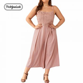 Pickyourlook Jumpsuit Woman Plus Size Sleeveless Lace Pink Jumpsuits Fashion Wide Leg Pants Loose Elegant Women Overalls H40