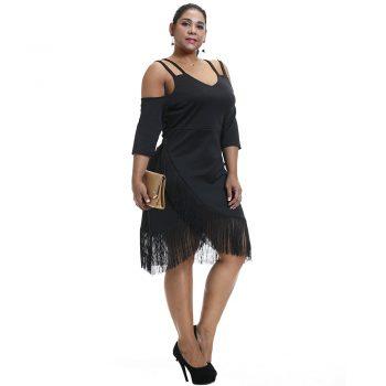 Plus Size Women Tassel Dress Off Shoulder V Neck Bodycon Dress Elegant Ladies Evening Party Midi Dress For Large Size Female D40