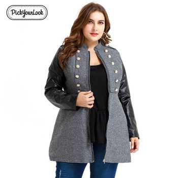 Pickyourlook Women Coats And Jackets Plus Size Fashion Pu Leather Sleeve Zipper Female Overcoat Large Button Ladies OuterwearD40
