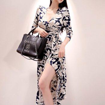 Women Summer New Temperament Vintage Elegant Flower Print V-Neck Chiffon Boho Beach Dress Tunic Sundress Maxi Dress Vestidos