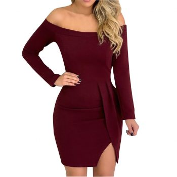 JAYCOSIN Sexy Dresses Party Night Club Dress 2019 Solid Color Long Sleeved Off Shoulder Slash Neck Split Bag Hip Dress Vestidos