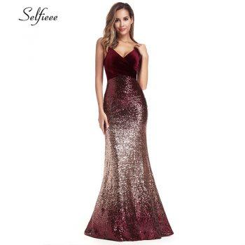 Sequined Burgundy Women Dresses Spaghetti Straps V-Neck Elegant Sparkle Maxi Dresses Woman Party Night Dresses Robe Femme 2019