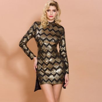 Sexy sequins sparkling geometric pattern dress long sleeve round neck short party dress elegant split golden dress 2123
