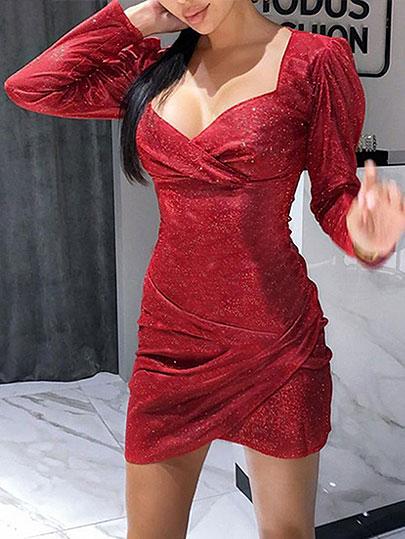 Sexy Lady Long Sleeve V Neck Glitter Silver Shiny Dress Sparkle Bling Shine Party Club Dress 2020 New Bodycon Mini Dresses G1213