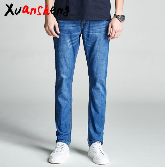 Brand thin men's jeans 2019 stretch straight light color summer breathable classic streetwear dress light blue black jeans