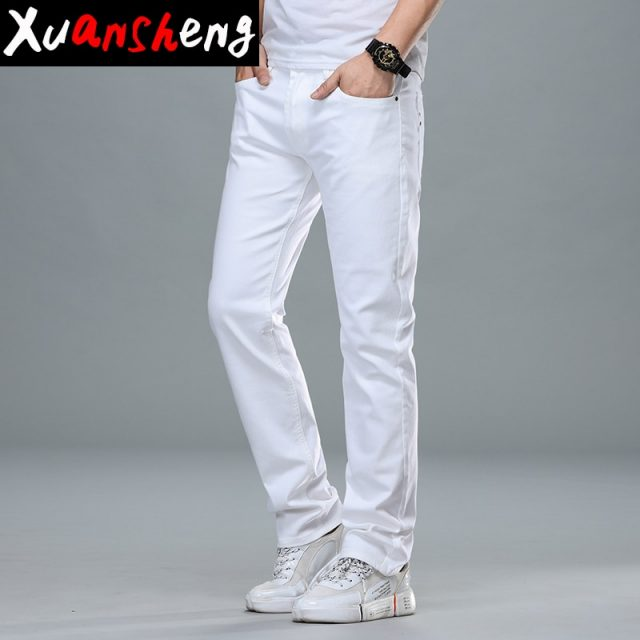 Brand White gray Men Jeans 2019 New Classic Cotton Youth Stretch Slim Straight Fashion Design Casual Streetwear Long Pants Jeans