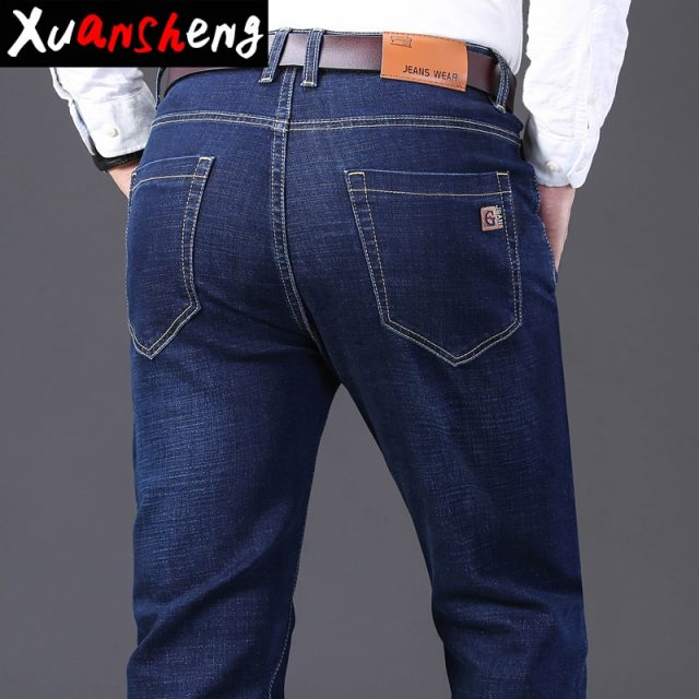 Xuan Sheng brand men's jeans 2019 classic youth thick fashion straight stretch blue black long pants new Washed streetwear jeans