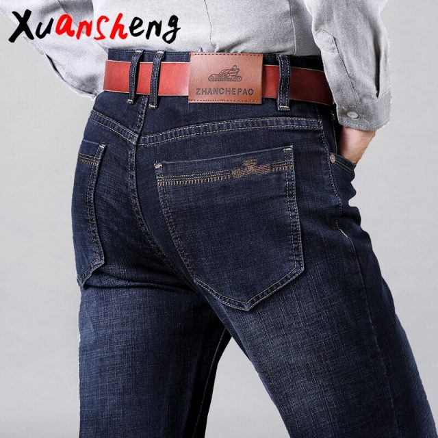 XuanSheng straight men's jeans 2019 middle-aged thick blue black stretch brand classic trousers fashion streetwear clothes jeans