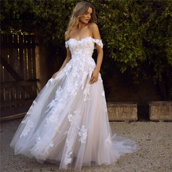 LORIE Lace Wedding Dresses 2019 Off the Shoulder Appliques A Line Bride Dress Princess Wedding Gown Free Shipping robe de mariee