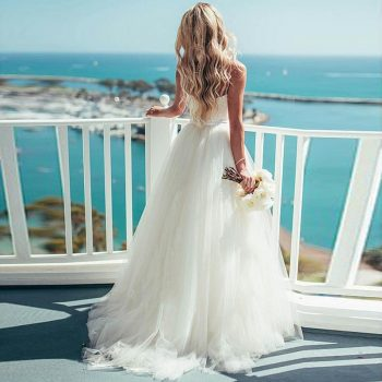Eightree A-Line Beach Wedding Dress 2019 Sweetheart Bridal Dress White Spaghetti Straps Classic Simple Wedding Gowns Gelinlik