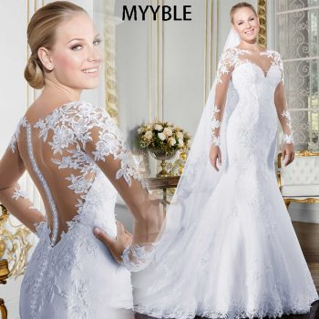 MYYBLE Sheer O-neck Long Sleeve Mermaid Wedding Dress 2020 See Through Illusion Back White Bridal Gowns with Lace Appliques