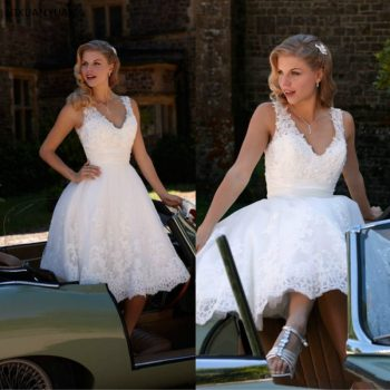 Hot Sale V-Neck Beaded Lace A-Line Tea Length Short Wedding Dresses Bridal Gowns Custom Made Size Vestido De Noiva