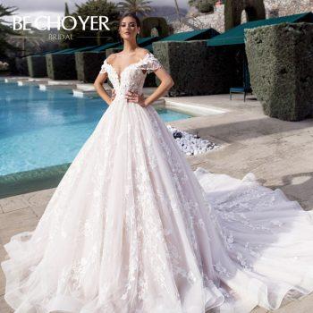 Luxury Beaded 3D Flowers Wedding Dress BECHOYER K175 Sweetheart Off Shoulder Appliques Lace Ball Gown Bride Vestido de Noiva