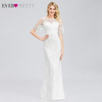 Elegant Mermaid Wedding Dresses Ever Pretty EP00858WH Half Sleeve O-Neck Lace Embroidery Illusion Formal Bride Gowns Gelinlik
