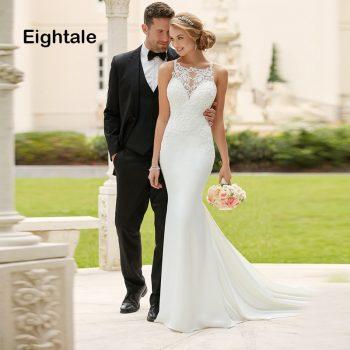 Eightale Mermaid Boho Wedding Dresses Lace O Neck Chiffon Bridal Dress Appliques Simple Wedding Gowns 2019 vestido novia
