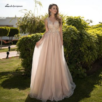 Lakshmigown Sexy Champagne Wedding Dress A Line 2019 Tulle Long Bridal Dress Sheer Lace Top Beach Boho Wedding Party Gown Floor