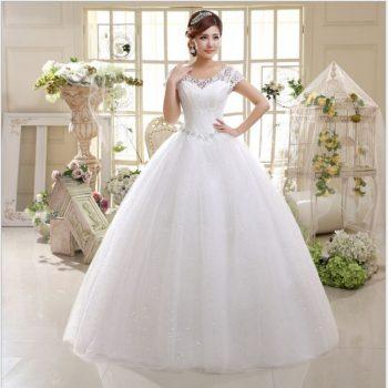 Elegant simple Wedding Dress  O-Neck Short Sleeves Net Rhinestone Backless lace up Bridal Ball Gown