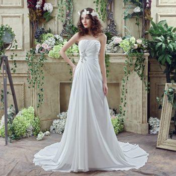 Strapless Chiffon Wedding Dress Fairy temperament Applique Artificial pearl Beading Ruffles Bridal Gown