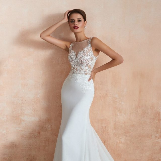 2019 Sexy Mermaid Wedding Dresses Paillette Applique Boat-Neck Sleeveless Chiffon Customer Made Size Wedding Ball Gowns