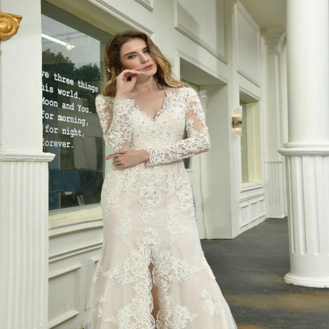 Long Sleeves Split Wedding Dress V-Neck lace Applique Beaded Button  Mermaid Bridal Gown