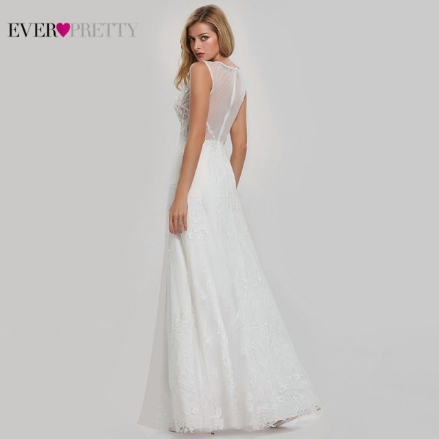 Elegant Lace Wedding Dresses Ever Pretty EZ07832CR A-Line V-Neck Bride Boho Wedding Gowns Vestido De Noiva 2020 Tulle Mariage