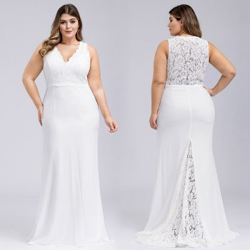Elegant Wedding Dresses 2020 Mermaid Long Wedding Party Dress R182 Lace Top Formal Vestido de Novia  V-Neck Tank  Robe De Mariee