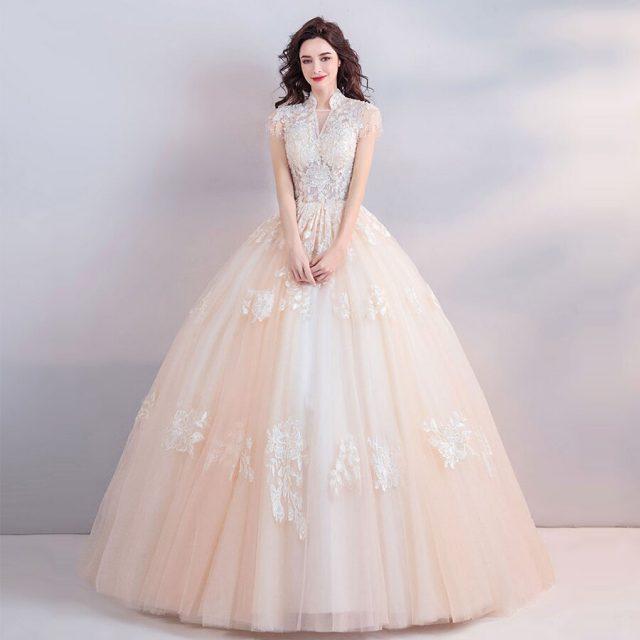 Wedding Dress Short Sleeve Embroidery Vestido De Noiva Crystal Champagne Flower V-neck Floor Length Ball Gown Wedding 2019 E164