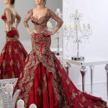 Two Pieces Wedding Dresses Mermaid Sweetheart Indian Jajja-Couture Abaya dubai Burgundy Bridal wedding Gowns with Sleeves Lace