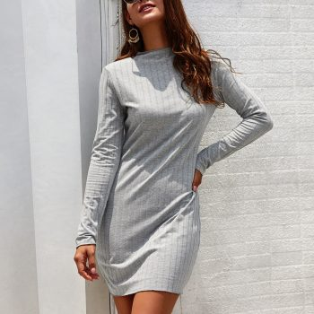 Autumn Dress Womens NEW Fashion Casual Sexy Solid Ladies O-Neck Long Sleeves Bodycon Empire Party Mini Dress Freeship платье