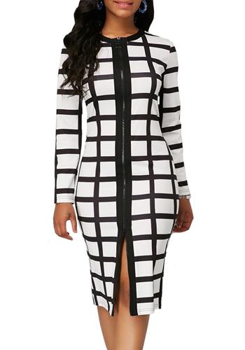 Black White Plaid Dress Women Autumn Summer Casual Plus Size Slim Zipper Office Pencil Dresses Sexy Split Long Party Dress