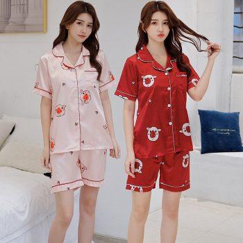 2019 Summer Silk Satin Shorts Pajama Sets for Women Short Sleeve Cute Cartoon Sleepwear Loungewear Homewear Pijama Mujer Clothes