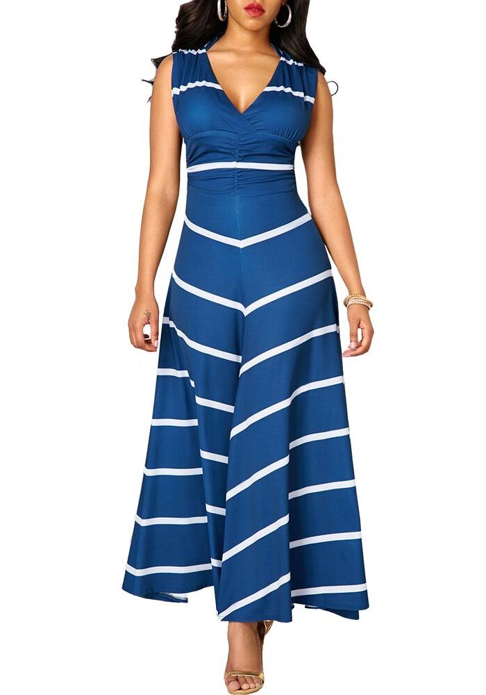 Striped Woman Dress Summer 2020 Sexy Deep V Neck Sleeveless Long Party Dress Casual Plus Size Slim Ball Gown Maxi Dresses Women