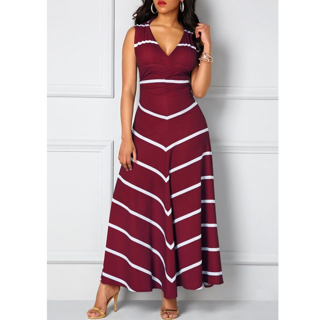 Striped Woman Dress Summer 2020 Sexy Deep V Neck Sleeveless Long Party Dress Casual Plus Size Slim Ball Gown Maxi Dresses Women
