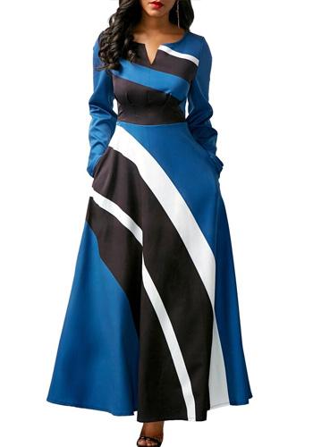 Vintage Striped Dress Women Autumn Summer 2020 Casual Plus Size Slim Ball Gown Maxi Dress Sexy V Neck Long Party vestidos 5XL